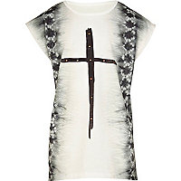 Girls white tie dye cross t-shirt