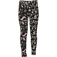 Girls black graffiti print jeggings