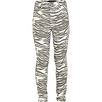 Girls grey zebra print jeggings