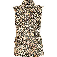 Girls brown leopard print gilet