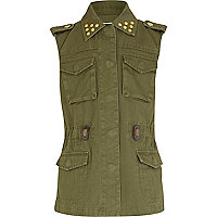 Girls khaki studded gilet