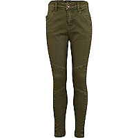 Girls khaki biker trousers