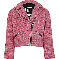 Girls pink tweed biker jacket