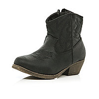 Girls black western boots