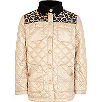 Girls cream animal yoke jacket