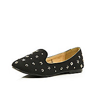 Girls black studded slipper shoes