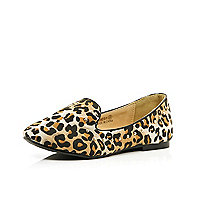 Girls brown leopard studded slipper shoes
