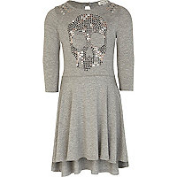 Girls grey studded skull dress