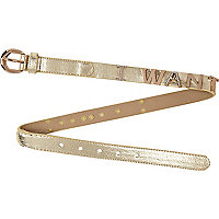 Girls gold metallic i want belt