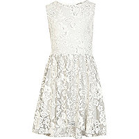 Girls grey lace skater dress