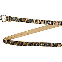 Girls brown leopard print i want belt