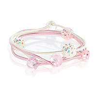 Girls pink four pack crystal hair bands