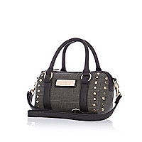 Girls khaki studded bowler bag