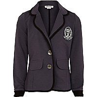 Girls navy collegiate blazer