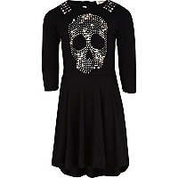 Girls black studded skull dress
