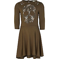 Girls khaki studded skull dress