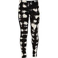 Girls black print leggings