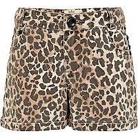 Girls brown studded animal print shorts