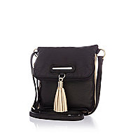 Girls black fold over bag