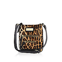 Girls brown leopard mini messenger bag