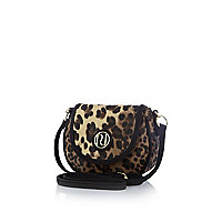 Girls brown leopard print cross body bag