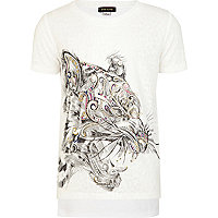 Girls white embellished tiger t-shirt