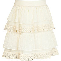 Girls cream lace rara skirt
