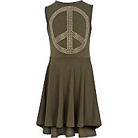Girls khaki diamante peace dress