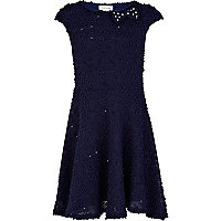 Girls navy textured skater dress