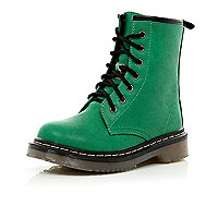 Girls green chunky boots