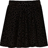 Girls black animal print skater skirt