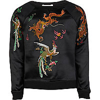 Girls black embroidered dragon sweat top