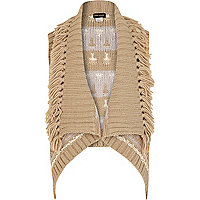 Girls beige aztec sleeveless cardigan