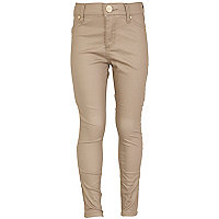 Girls beige coated jeggings