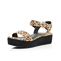 Girls brown leopard print flatform sandals
