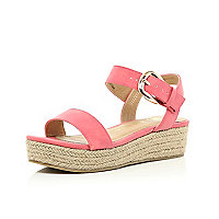 Girls coral hessian flatform sandals