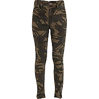 Girls khaki camouflage print trousers