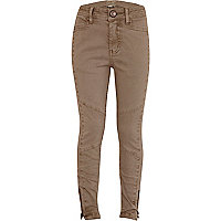 Girls beige biker trousers