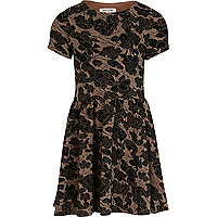 Girls black floral textured skater dress