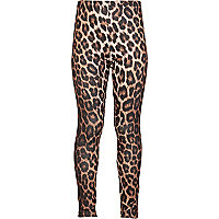Girls brown leopard print lurex leggings