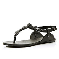 Girls black skull embellished sandals