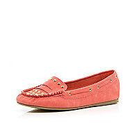 Girls pink studded moccasins