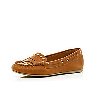 Girls brown studded moccasins