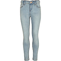 Girls blue light wash denim skinny jeans