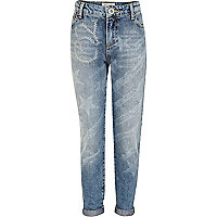 Girls light wash NYC stud boyfriend jeans