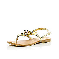 Girls gold 3d flower sandals