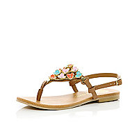 Girls brown 3d flower sandals