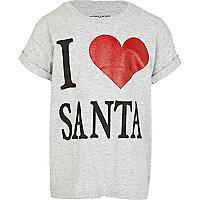 Girls grey i heart Santa print t-shirt