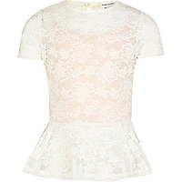 Girls cream lace peplum top