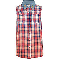 Girls red dip dye check shirt